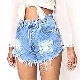 Vandot Vaqueros de Las Mujeres Pantalones Cortos de Mezclilla Agujeros Rasgados Chica de La Roca Pantalones Cortos de Los Pantalones del Mendigo, Azul