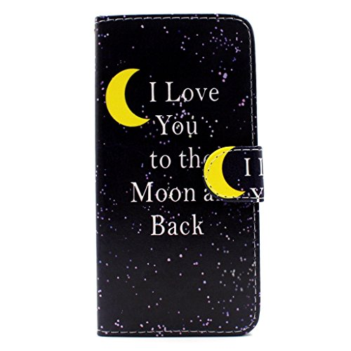 iPhone 6S plus Flip Hülle,iPhone 6 plus Case,iPhone 6S plus Tasche - Felfy Handytasche für Apple iPhone 6 / 6S plus Vintage Mond Liebe Vogel Stil mit Ständer Halter Card Slot Magnetic Button PU Leder  Gelben Mond