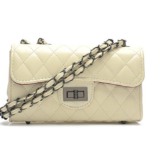 83f8c86c72234 fanhappygo Fashion Retro Leder Damen elegant gesteppte kleinen duftenden  Handtaschen Umschlag Schulterbeutel Umhängetaschen weiß