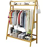 House of Quirk Bamboo Garment Coat Clothes Hanging Duty Rack with Top Shelf and Shoe Clothing Storage Organizer Shelves(100x140cm)