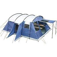skandika Milano 10 Personen Familien Zelt, wasserdicht durch starke 5000 mm Wassersäule. Großes, Tunnel-Zelt mit 2 Schlaf-Kabinen, Insekten-Netzen und über 2 m Stehhöhe mit eingenähter zeltboden