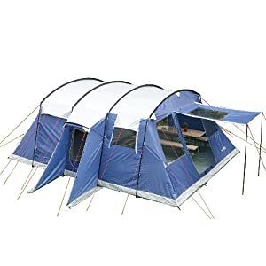 skandika milano family tunnel group tent with sewn-in groundsheet, 2 sleeping rooms, sun canopy