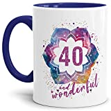 Tassendruck Geburtstags-Tasse 40 and Wonderful Geburtstags-Geschenk zum 40. Geburtstag ALS Geschenkidee für die Frau/Abstrakt / Bunt/Kaffeetasse / Innen & Henkel Dunkelblau