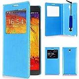 VCOMP Etui Housse Coque Flip Cover View Compatible pour Samsung Galaxy Note 3 Neo/Lite Duos 3G LTE SM-N750 SM-N7505 SM-N7502 + Mini Stylet - Bleu