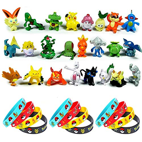 OMZGXGOD - 24 pièces Pokémon Mini Figures Action Figurines + 12 pièces Pokémon Bracelets, Enfants et Adultes Party Celebration