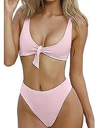 LEvifun Maillot de Bain 2 Pièces Femme Sexy Bikini Tankini Trikini Push Up  Soutien Gorge Solide e3b82bb438b