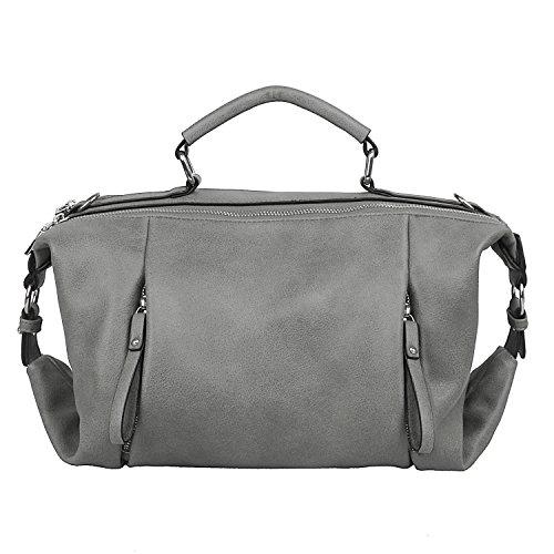 d9d2d70180cf6 Damen PU-Leder Handtaschen Simple Fashion Schultertasche mit Gurt für Damen  Marineblau L016-Grau