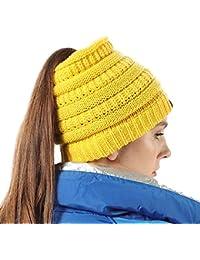 19d7b1bef30 Harrms Ponytail Beanie Hats Beanie Tail Womens Girls Soft Stretch Cable Knit  Crochet Messy High Bun Cap