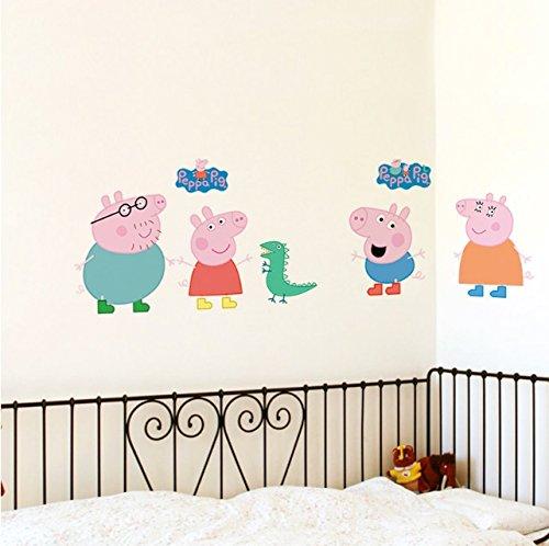 Peppa Pig familia decoración de pegatina de pared para niños