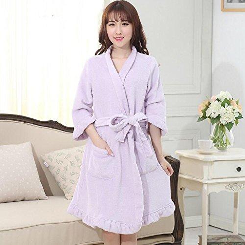 GJM Shop Baumwolle mit Taschen Bademantel ---- Winter-Frauen Polyester verdicken Bademäntel Hotel sieben Punkte Ärmel Warm Nachthemd halten --- Lang / Sieben - Punkte / Halbarm Bademantel ( Farbe : 1 ) (Nachthemd Volant)