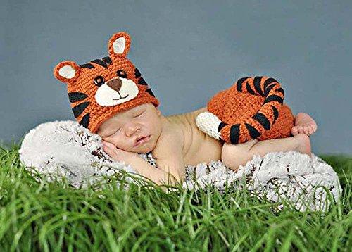 Jastore ® Foto Fotografie Prop Baby Kostüm Netter Tiger häkel Stricken Handarbeit