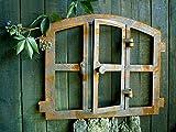 Antikas   Eisenfenster in antiken ländlichen Stil   Höhe: 42 cm - Breite: 48 cm   Fensterrahmen aus Gusseisen   Fenster für Stall- und Gartenmauern