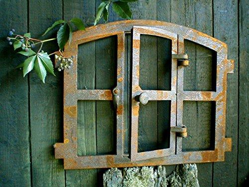 Antikas | Eisenfenster in antiken ländlichen Stil | Höhe: 42 cm - Breite: 48 cm | Fensterrahmen...