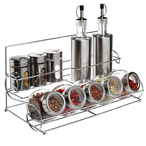 KAMIERFA salero y pimentero, 10piezas, 2aceite y vinagre dispensador de cristal bottles-13Ounce, 3Sal y pimienta shakers-4onza, 5cristal Canister jars-7Ounce, 1metal caddy y # xFF0C; condimento