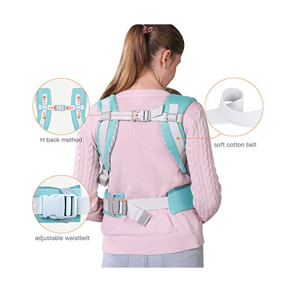Infant Baby Holder Carrier Backpack Ergonomic with Head Support Padded Shoulder Straps Front and Back for Newborn Toddler Wrap in All Season,Green tiancaiyiding ❤ Ergonomic Design: Wide and thick backpack straps help relieve stress . Easy to put on or take off. ❤ M shape Position: Stop hurting your baby's legs. Keep blood circulation in normality. ❤ All-round Support: Simple and thus strong structure. 360° wraps the baby against falling out. Collapsible hood for wind and sun protection 6