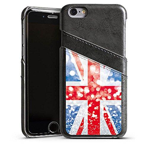 Apple iPhone 5 Housse étui coque protection Grande-Bretagne Grande-Bretagne Paillettes Étui en cuir gris