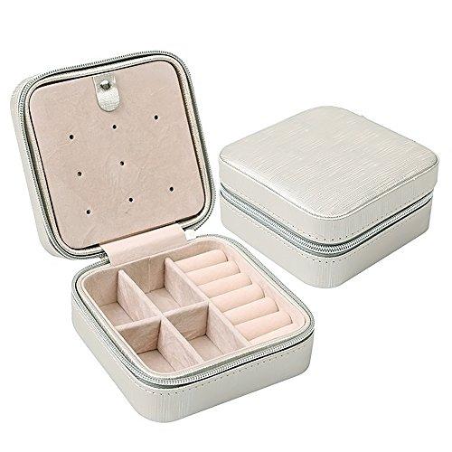 Vococal® Petit Cuir Pu Voyage Zipper-Bijoux/Storage Case D'Affichage Boîte de Rangement Organisateur pour Des Anneaux/Boucles/Collier Gris