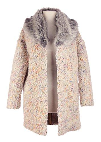 Femmes Italienne Lagenlook Quirky à manches longues fourrure Collar Boucle Texture 3 Button 2 Pocket Laine Mohair Knit Veste d'hiver Manteau Curve Surdimensionné One Size Crème