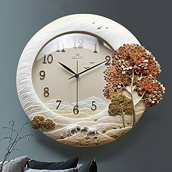 Kreative Romantische Landschaft Uhren Dekorative Runde Wand Uhr Stereo Mute Wohnzimmertisch 45 48cmOrange Amazonde Kche Haushalt