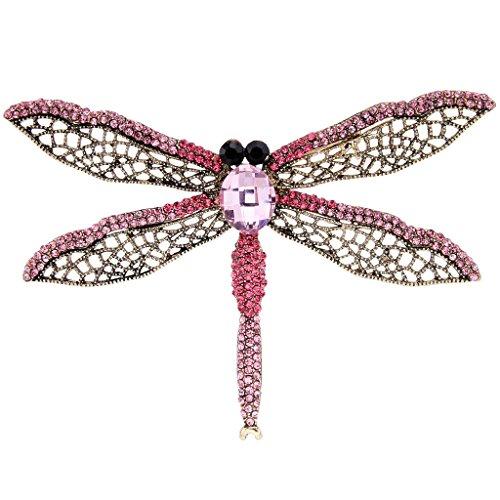 EVER FAITH® Strass Cristal Autrichien Libellule avec Aile Creuse Antique Broche Pin Insecte Rose, Doré