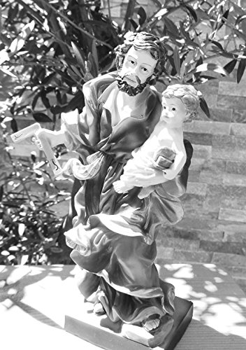 30-31cm d' ulivo-Premium Figura Di San Giuseppe Di Nazareth con angolo di Carpentiere, padre di Gesù trainabile con bambino in Nazaret, Patrono di operai, Carpentiere e taglialegna, Patron in blu scuro della tunica rosso/Cappotto-Tutti i Santi d' ulivo e statuette per il presepio si distinguono estremamente pulito lavorate e preciso del fronte treni dei personaggi in simil o in vero legno, figure di legno colorati, forma allungata, dipinte a mano Passion figura