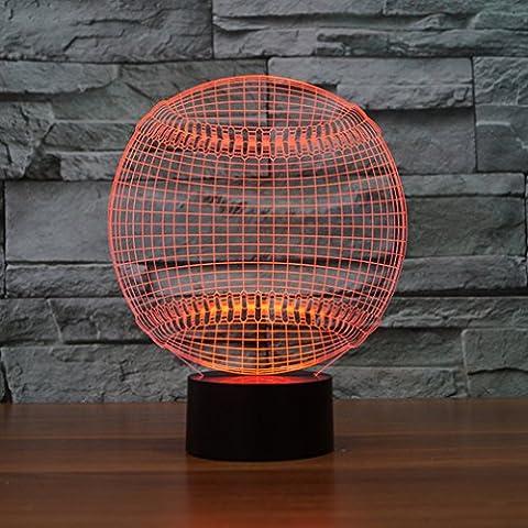 Baseball 3d lampe Illusion d'optique Night Light, Jawell 7Changement de couleur tactile Table Lampes de bureau avec Acrylique Plat et ABS Base & câble USB pour Awesome Cadeau