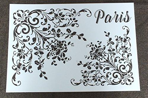 Boutique d'isacrea Schablone Kunststoff Vintage Paris A429,7cm x 21cm