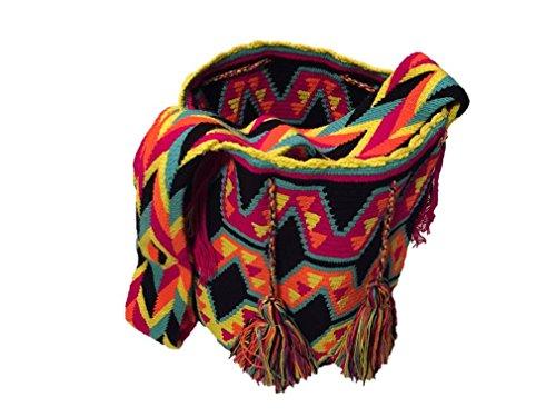 Mochila Wayuu Tasche aus Karibik Fair Trade Luxus Tragetasche Strandtasche aus Kolumbien Ma'pa Wayúu in Handarbeit für Hipster Unisex (Morales) (Damen Handarbeit Taschen)