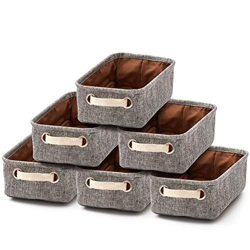 EZOWare 6 Pcs Caja de Almacenaje, Pequeñas Cestas Organizadoras de Tela Plegable con Manijas para Cajones, Armario, Oficina, Baño, Cocina, Dormitorios y mas - 30.5 x 17.8 x 10.2 cm - Gris