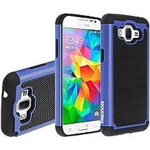 Samsung Galaxy Core Prime G360 / Prevail LTE Funda,Mama Mouth Heavy Duty silicona híbrida con soporte Cáscara de Cubierta Protectora de Doble Capa Funda Caso para Samsung Galaxy Core Prime G360 / Prevail LTE,Azul