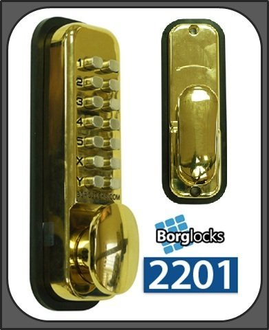 Borg 2201 Digitale Push Button Lock – Light Duty Mortice Latch – Polished Brass by Borg Locks