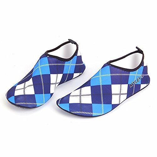 neeiors Grid Style Grid Style faltbare Wasser schwimmen Strand Schuhe für Damen und Herren Blau