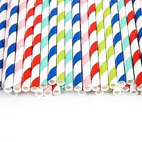 pailles en papier Motif rayures multicolores pour les fêtes d'été/arts & Crafts 100