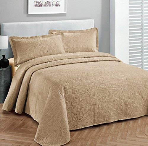 Linen Plus Bettwäsche-Set für King-Size/California King-Size-Betten, 3-teilig, einfarbig, Taupe - California King-size-bett Bettdecken