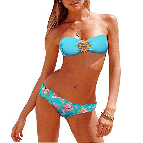 Sexy Bikini Delle Donne di Cristallo d'acciaio Di Cura Up And Top Down Jeweled Floral Swimwear Beachwear Blu