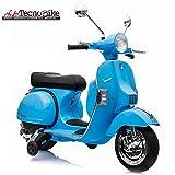 Tecnobike Shop Moto Scooter Elettrico per Bambini Ufficiale Piaggio Vespa PX 150 12V con Rotelle Sella in Pelle Nero/Beige Crema (Azzurro)