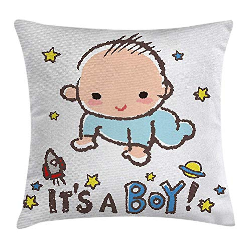 WCMBY Gender Reveal Decorations Throw Pillow Cushion Cover, Little Baby Boy Smiling with Stars...