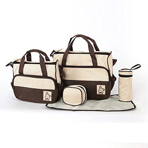 5tlg Babytasche Set Umhängetasche Tragetasche Wickeltasche Kindertasche,Braun
