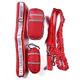WLDOCA Hands Free Running Hundeleine-Einstellbarer Laufband Für Den Hund-2 Packtaschen,Red