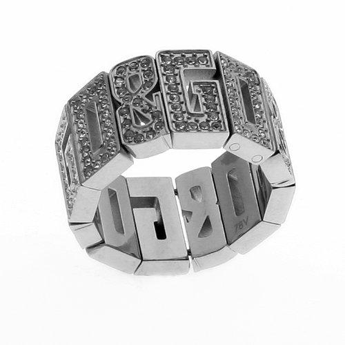 Dolce & Gabbana JEWELS D&G OVERLAP RING #16 FULL STRASS D&G LOGO ALL AROUND DJ0534 female