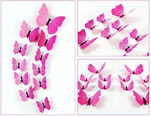 in 3D ZOOYOO Confezione di Adesivi da Parete a Forma di Farfalla Colore: Blu 12 Pezzi