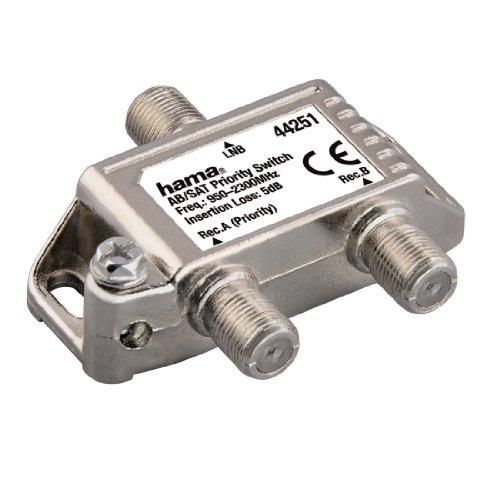 Hama AB/SAT-Prioritätsschalter (F-Kupplung, Umschalten zwischen zwei SAT-Receivern auf ein LNB)