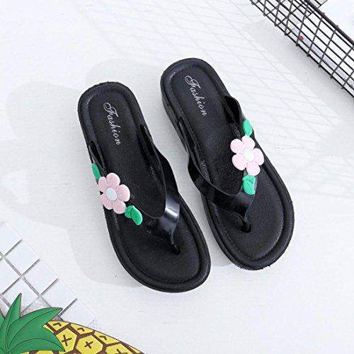 Sandales à Talons,OverDose ÉTé Fleurs Chaussures Femmes Flip Flops Tongs Strings Rose