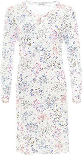Charmor Damen-Nachthemd Interlock-Jersey Creme/blau/rot Größe 40