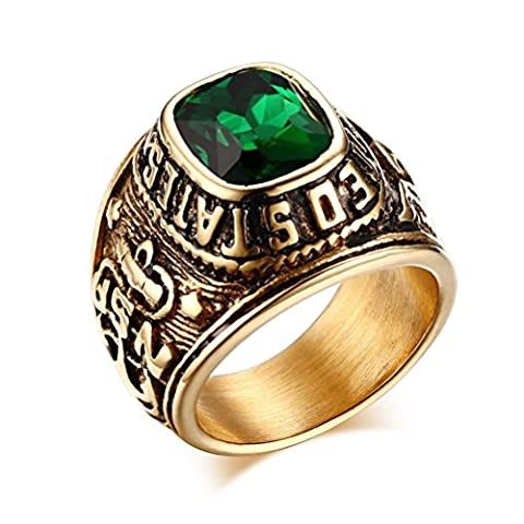 Vnox Men's Stainless Steel 18K Gold Plated Green Gemstone Eagle Anchor Veteran US Navy Seals (Us Navy Seals Insignia)