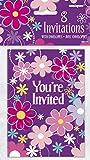 98154 fiore Unique Party-Biglietti di invito per feste di compleanno, confezione da 8 pezzi