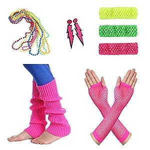 Amaza 80er Damen Neon Beinstulpen Halsketten Fischnetz Handschuhe Stirnband Ohrringe Verkleiden Kostüme