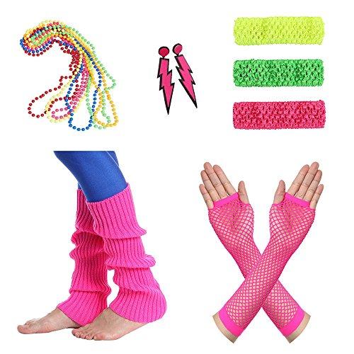 Amaza 80er Damen Neon Beinstulpen Halsketten Fischnetz Handschuhe Stirnband Ohrringe Verkleiden Kostüme (Jahre Accessoires Schmuck 80er Und)
