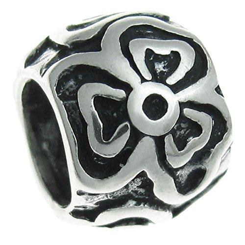 Queenberry Charm-Anhänger Sterling-Silber 925 Blume europäischer Stil -