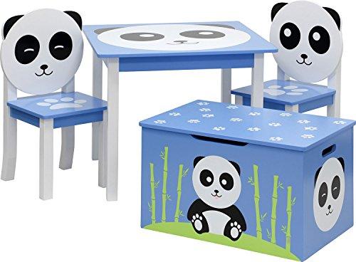 IB-Style - Kindersitzgruppe Panda | 3 Kombinationen - Stuhl Truhenbank Kindermöbel Tisch Kindertisch Kinderstuhl - 4-er Set: 1x Tisch + 2X Stühle + 1x Truhenbank